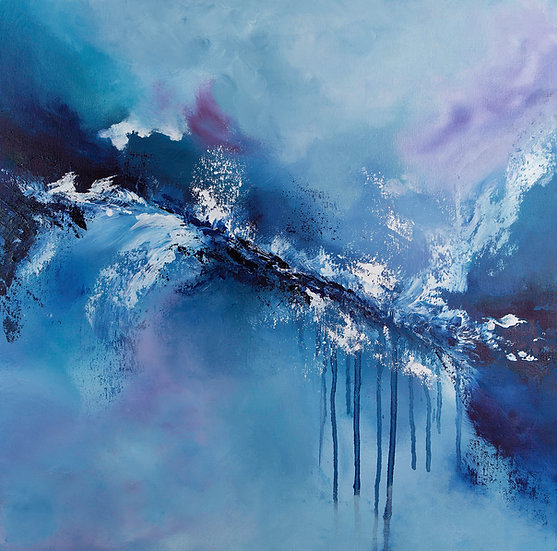 Release - Framed Abstract Oil Painting - 59cm x 59cm Blue Art