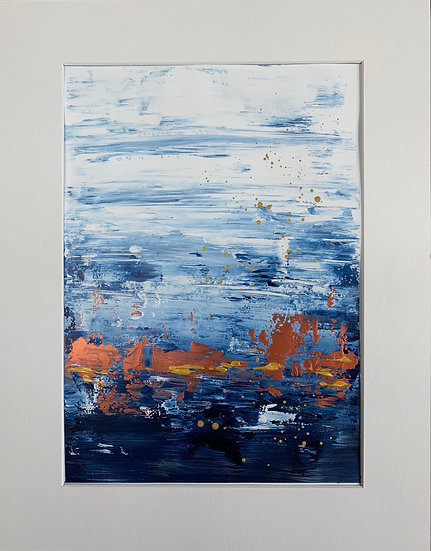 Classic Blue 2 - Abstract Painting Art on Paper