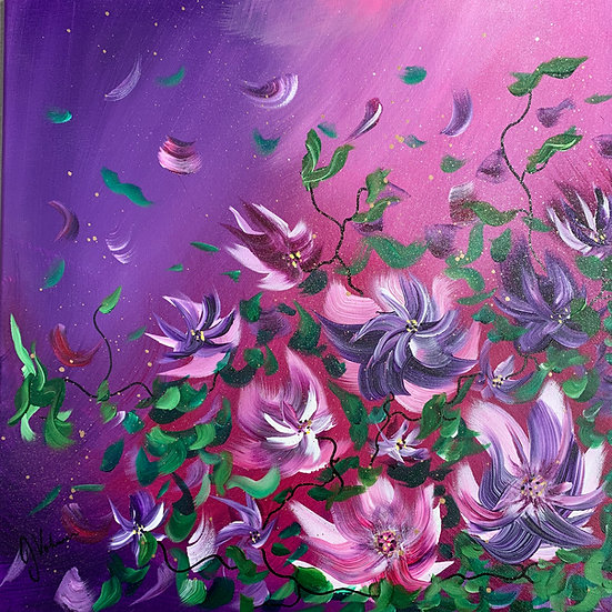 Flowers at Sunset - Modern Abstract Floral Painting