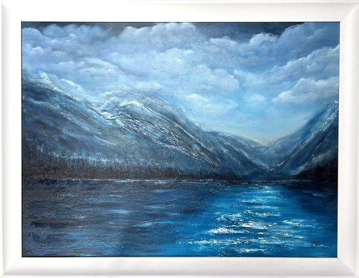 Mountain View - Framed Oil Painting - 89cm x 69cm
