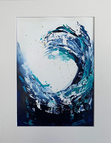 Classic Blue 3 -Abstract Painting Art on paper