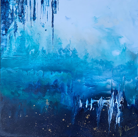 Ice Cave - Blue Fluid Abstract Painting Artwork