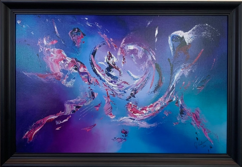 I think I'm in love - Vibrant Abstract Painting in a Black Frame