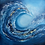 Thumbnail: Gold Coast - Blue wave with gold abstract painting