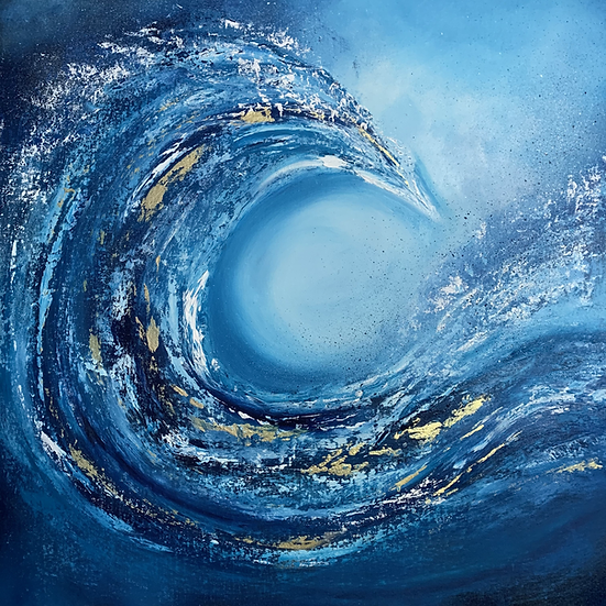 Gold Coast - Blue wave with gold abstract painting