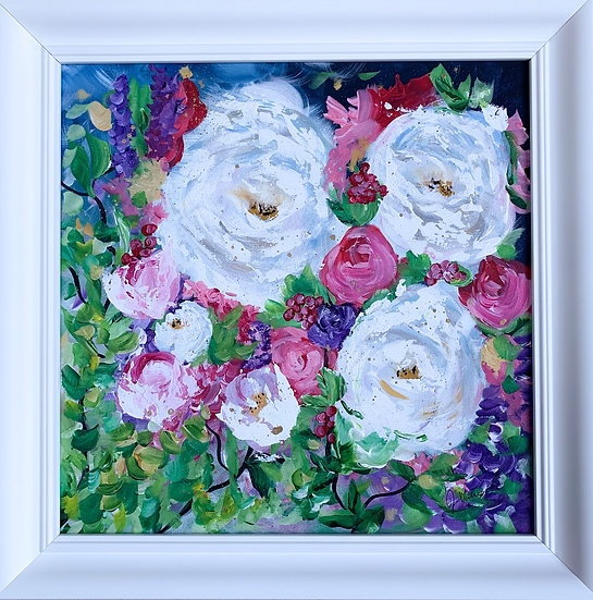 Peonies II - Modern abstract floral painting - Artwork in a white frame