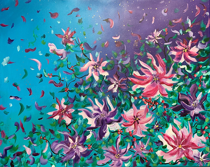 Secret Garden - Vibrant modern abstract floral painting