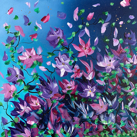 Flowers under Moonlight - Modern abstract floral painting