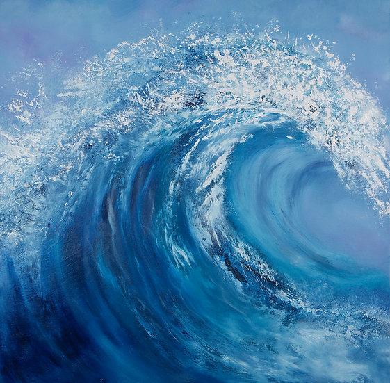 Force of Nature - Framed Blue Wave Oil Painting - 59cm x 59cm