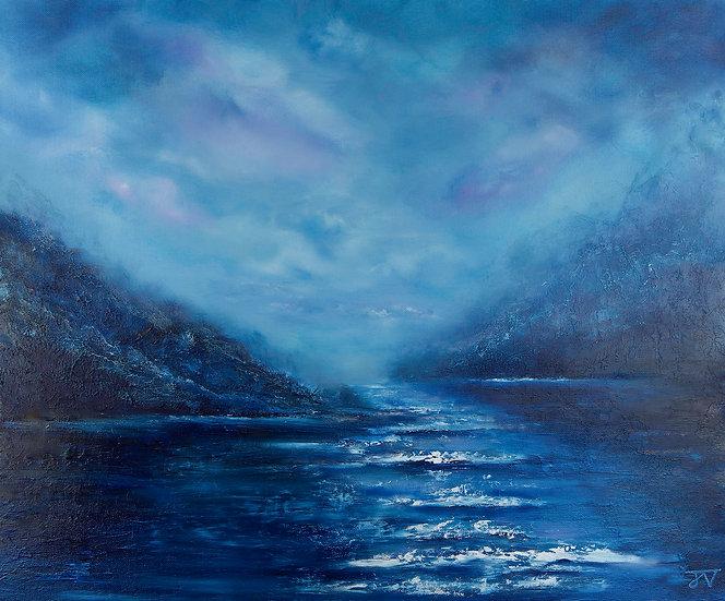 A moment of calm - Framed original ocean painting - 69cm x 59cm