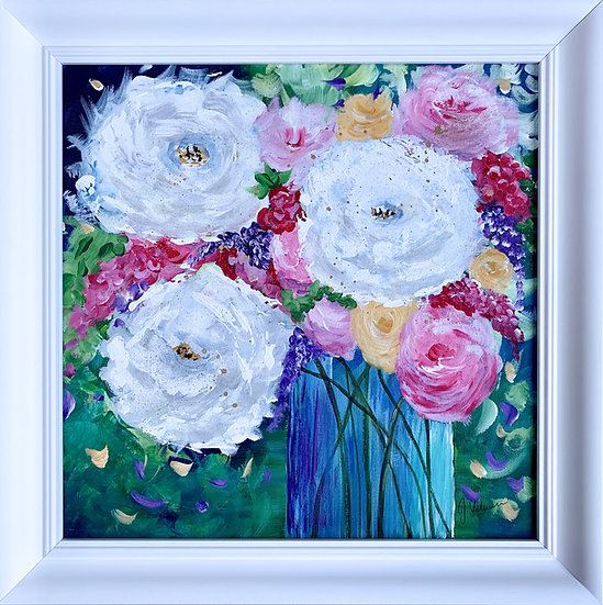Peonies I - Abstract Floral Painting Artwork in White Frame