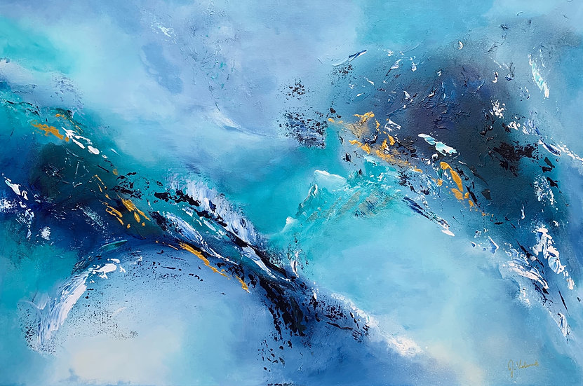 Abstract Elements - Contemporary Textured Blue Abstract Painting Artwork
