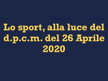 Lo sport, alla luce del d.p.c.m. del 26 Aprile 2020