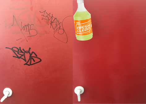 Graffiti removed with FreshClean Target Spray