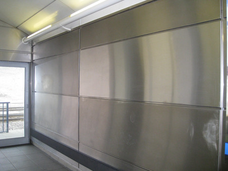 Sheffield Station - stainless steel panel cleaned with FreshClean
