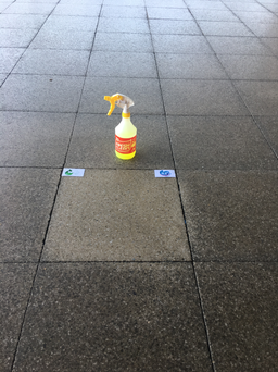 Entrance tiles clened with FreshClean Target Sray
