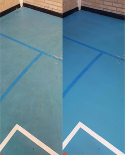 Belfast school gymnasium  before and after using FreshClean
