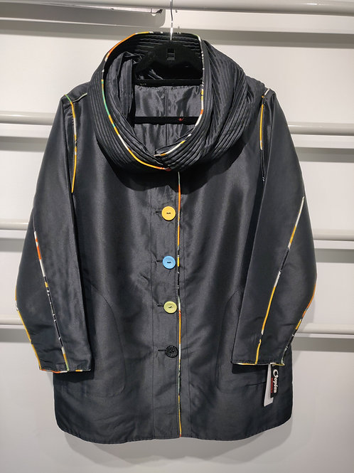 PLEATED COLLAR INTO HOOD WATER REPELLENT REVERSIBLE