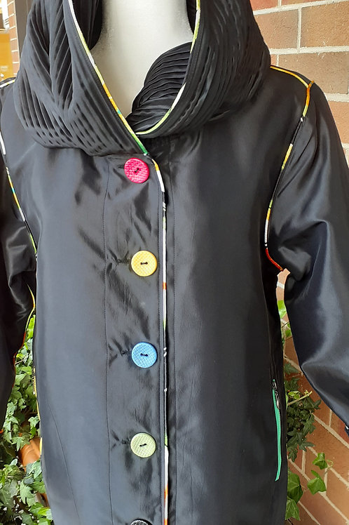PIPED WITH LOTS OF COLORS REVERIBLE RAIN JACKET