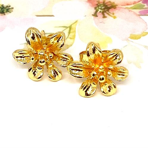 """Lilly""  Flower Gold Stud Earrings"