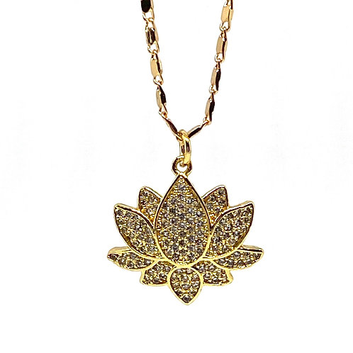 Purity and Enlightenment Gold Lotus Necklace