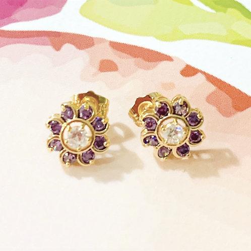 """""""Violette"""" Purple Flower Gold Earrings"""
