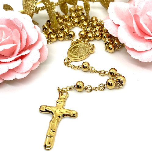 Gold Devotion Rosary Necklace