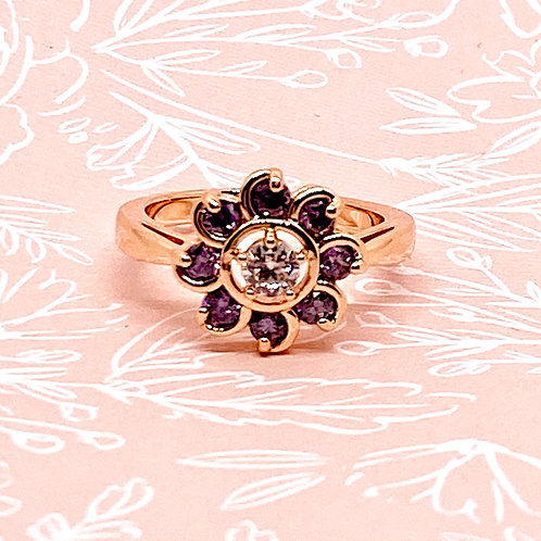 """Violette"" Purple Flower Accent Ring."