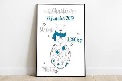 """Affiche de naissance """"Charlie"""""""