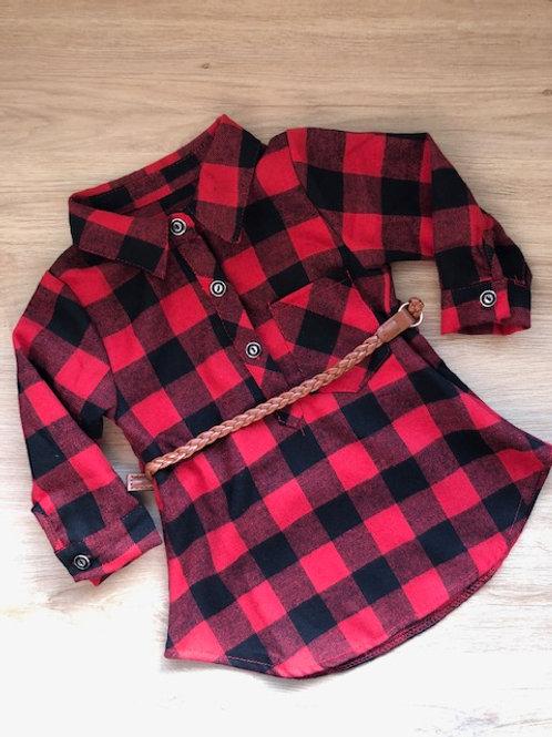 Chemise à carreaux avec ceinture