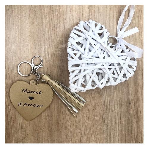 Porte clé mamie coeur