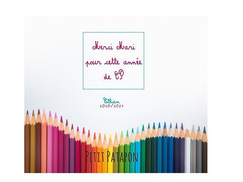 Tablette merci maitresse motif crayons