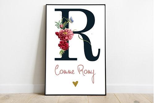 Affiche Initiale Fleuri