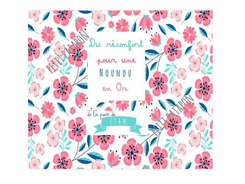 Tablette nounou personnalisée motif floral