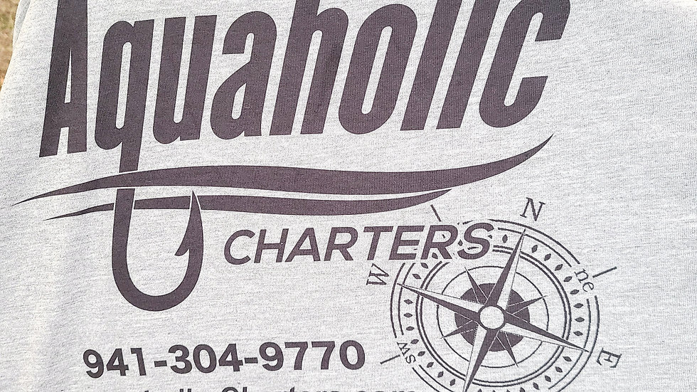 Aquaholic Charter Cotton Blend Short Sleeve T- Shirt