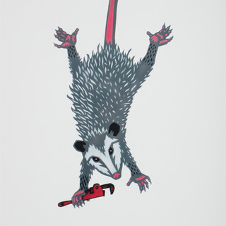 #7 Hand colored possum lady print by Dave Loewenstein