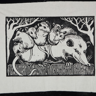 #31 oppossum family fabric print by Matthew Lord