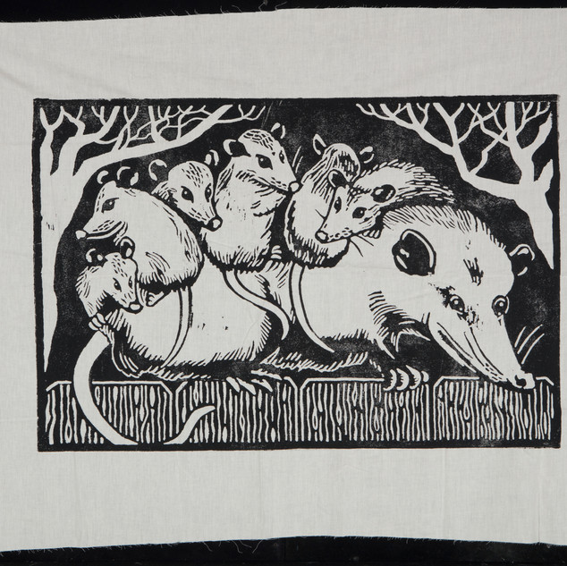 #31 oppossum family fabric print by Matthew Lord