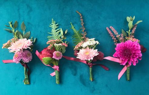 wild buttonholes, wedding flowers,wild flowers, textured buttonholes, detailed buttonholes, dahlia, santini, fern,