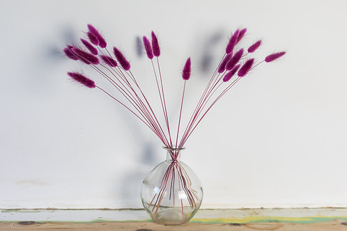 Bunch of Bunny Tails with Clear Bubble Vase