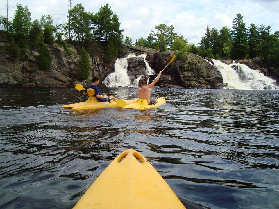 Kayaking to the falls