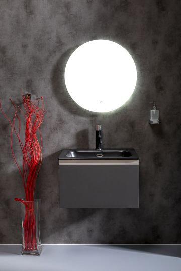 Мебель для ванной Armadi Art Vallessi 60 антрацит матовая, с черной раковиной