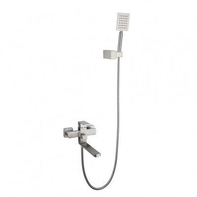 Смеситель д/ванны MELANA-F1013 нерж.сталь, однорычажный, сатин, поворотный излив