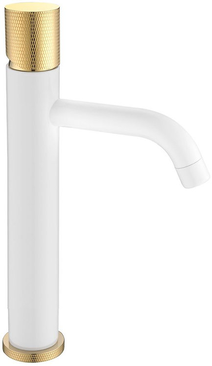 Смеситель Boheme Stick 122-WG.2 для раковины, white touch gold