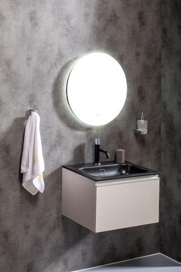 Мебель для ванной Armadi Art Vallessi 60 кашемир, с черной раковиной