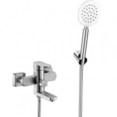 Смеситель д/ванны MELANA-F610305 Stello нерж.сталь, однорычаж, сатин,литой излив