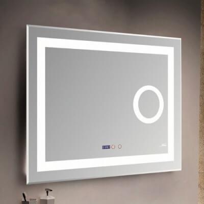 Зеркало с LED-подсветкой MELANA-8060 подогрев/часы/космет.зеркало (MLN-LED089)