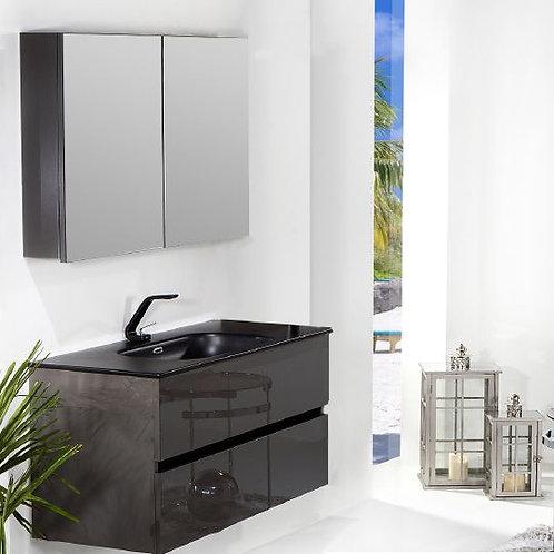 Мебель для ванной Armadi Art Vallessi 100 антрацит глянец, с черной раковиной