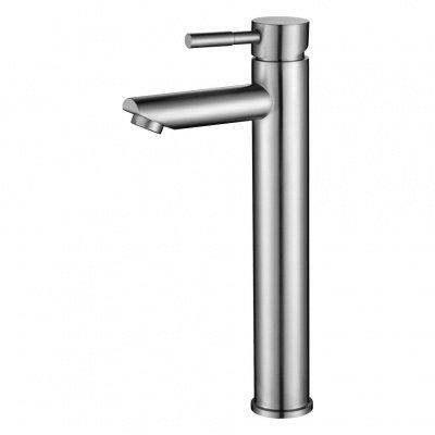 Смеситель д/ум MELANA-F610102 Tondo нерж.сталь, однорычажный, сатин, литой излив