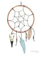 Dreamcatcher Pagan Raven Skull Feathers